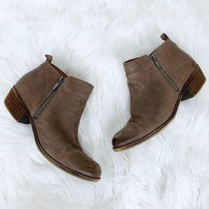 Lucky Brand Basel Size Zip Leather Ankle Boots